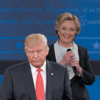 Donald Trump and Hillary Clinton at the second presidential debate, Washington University, St. Louis, Missouri, October 9, 2016