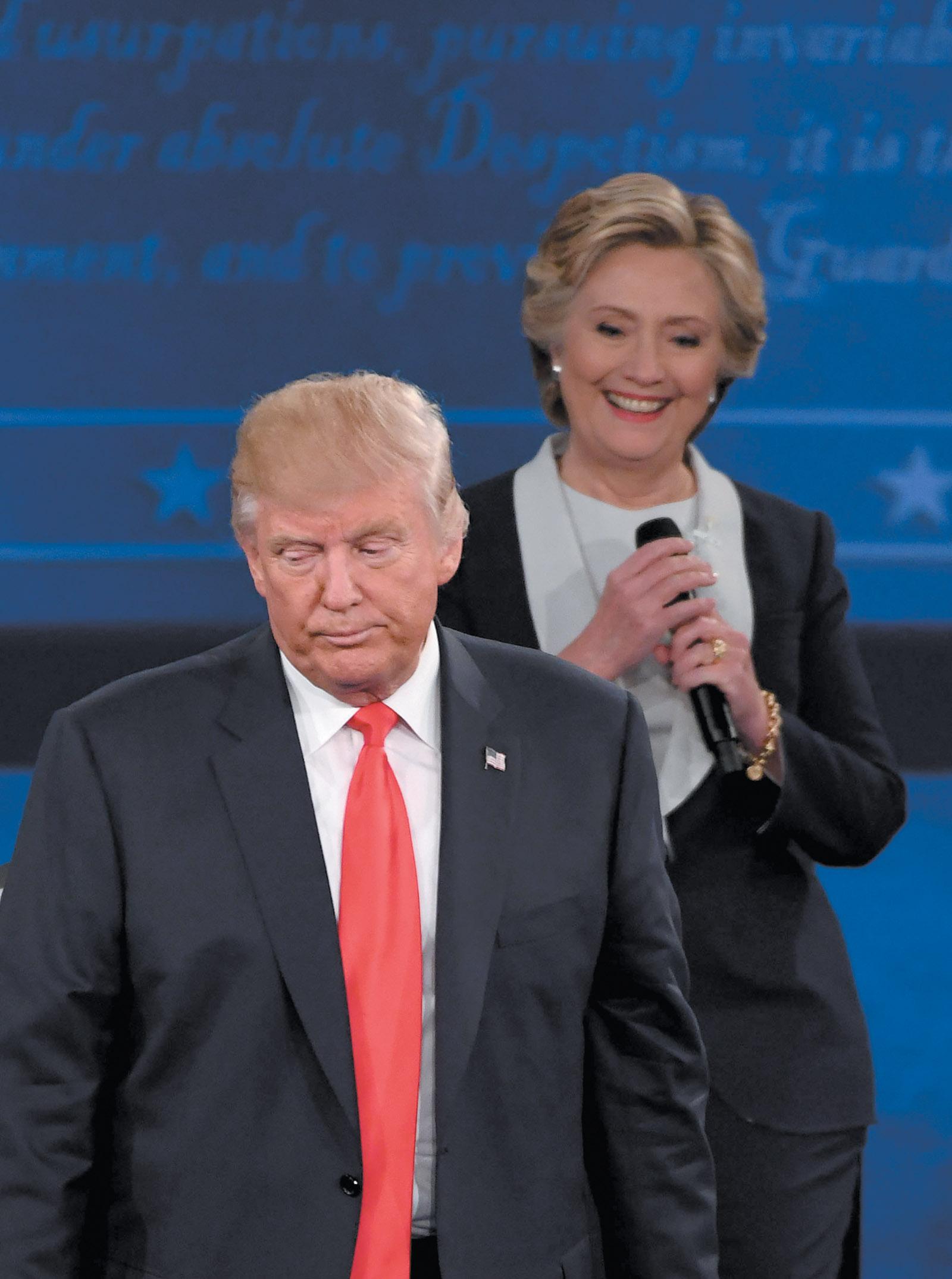 Donald Trump and Hillary Clinton at the second presidential debate, Washington University, St. Louis, Missouri, October 9, 2016