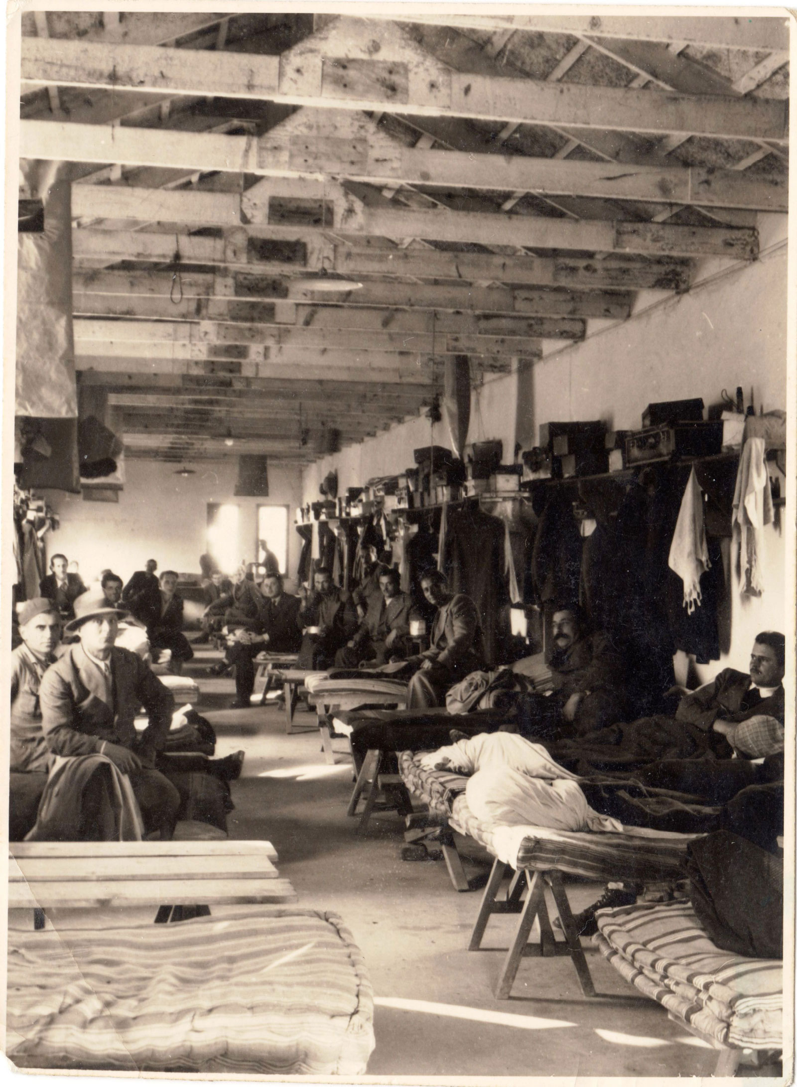 Male internees in the Ferramonti camp, circa 1943