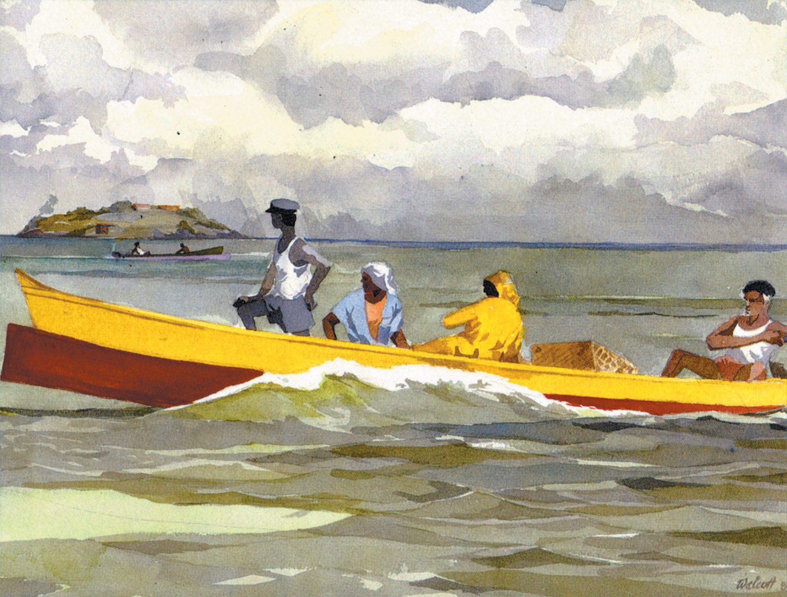 Painting by Derek Walcott, from the cover of his book-length poem Omeros, 1990