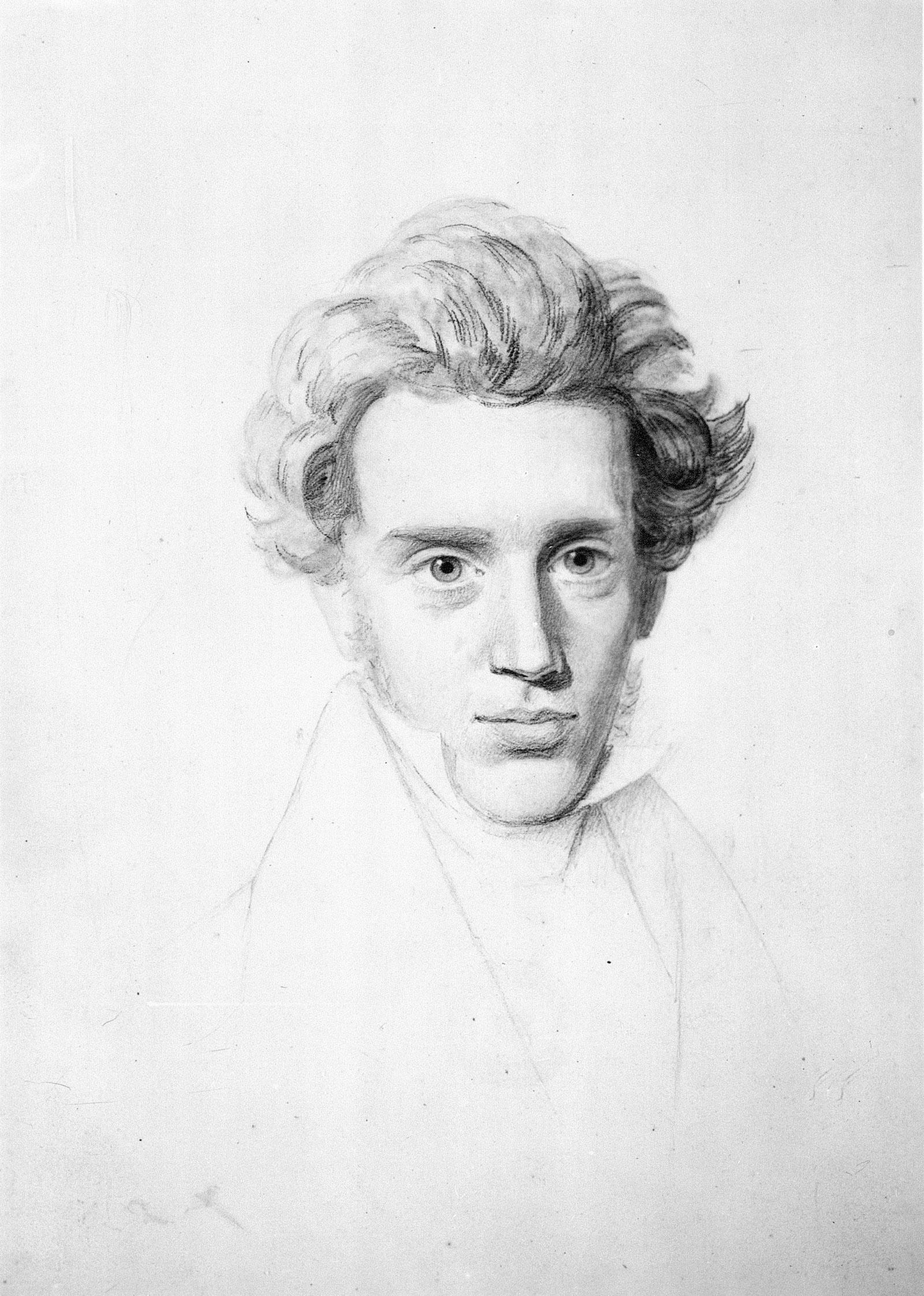 Søren Kierkegaard; drawing by Niels Christian Kierkegaard, circa 1840