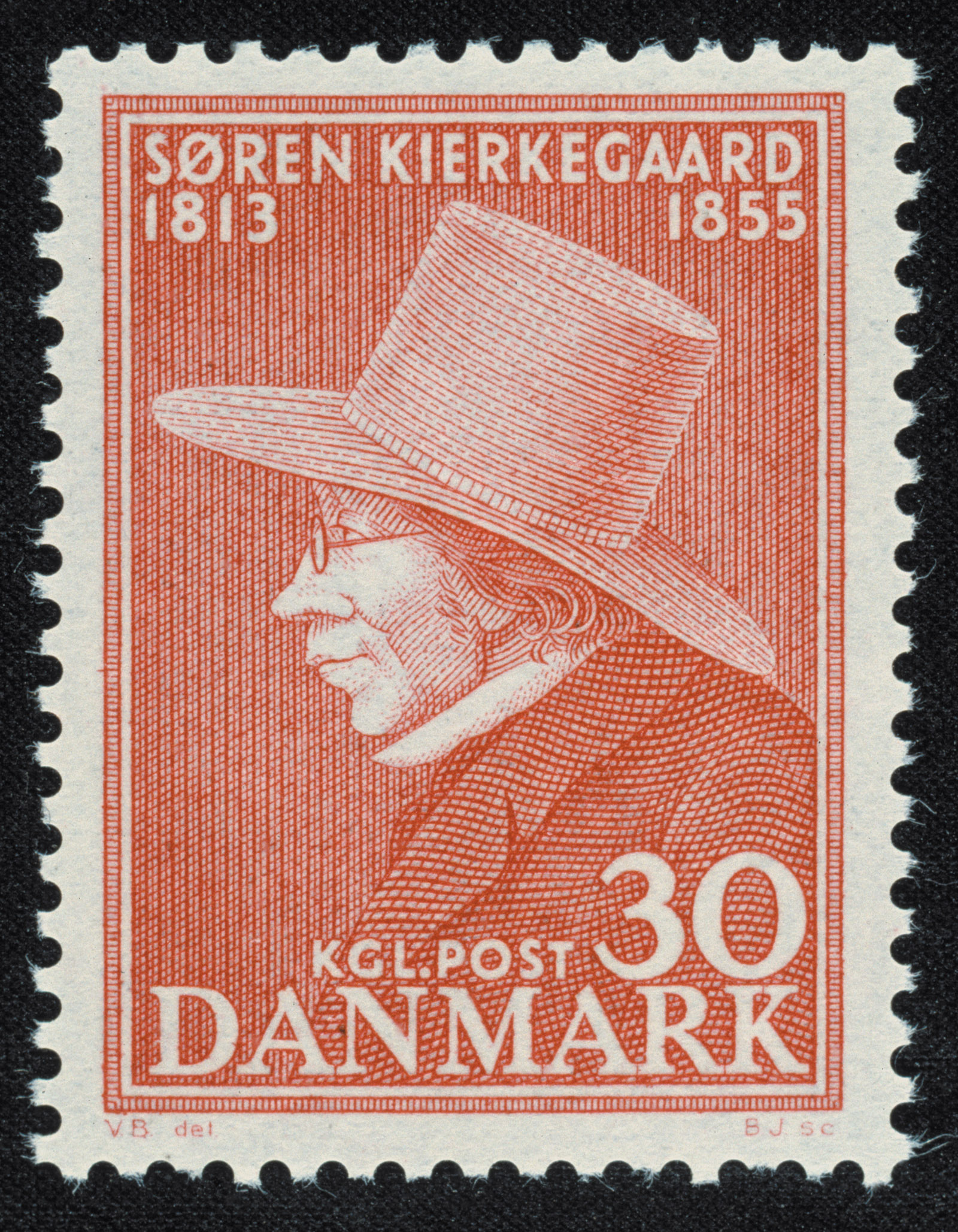 A Danish postage stamp issued in 1955 for the centennial of Søren Kierkegaard's death
