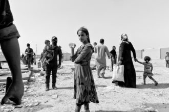 Iraqi civilians fleeing from the ISIS-controlled towns of Shirqat and Gwer, which Iraqi and Kurdish forces were attempting to recapture as part of the Mosul offensive, July 2016