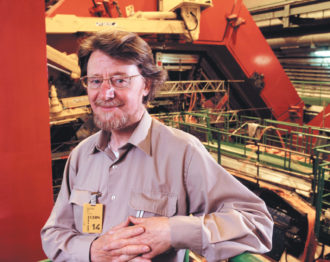 The Irish physicist John Stewart Bell, who in 1964 proposed a way to observe 'spooky action' of particles experimentally, at the Large Electron-Positron Collider at CERN, near Geneva, Switzerland, 1989
