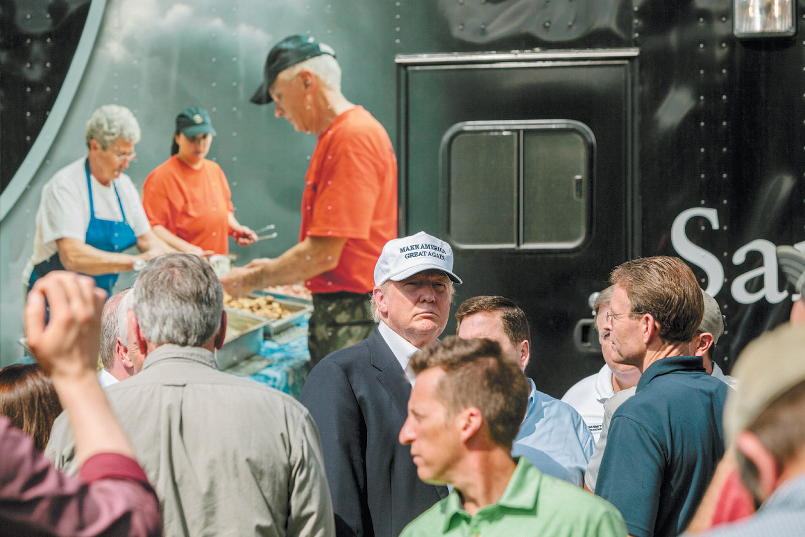 Donald Trump in front of the Samaritan's Purse mobile kitchen at an event for flood victims, Greenwell Springs Baptist Church, near Baton Rouge, Louisiana, August 2016