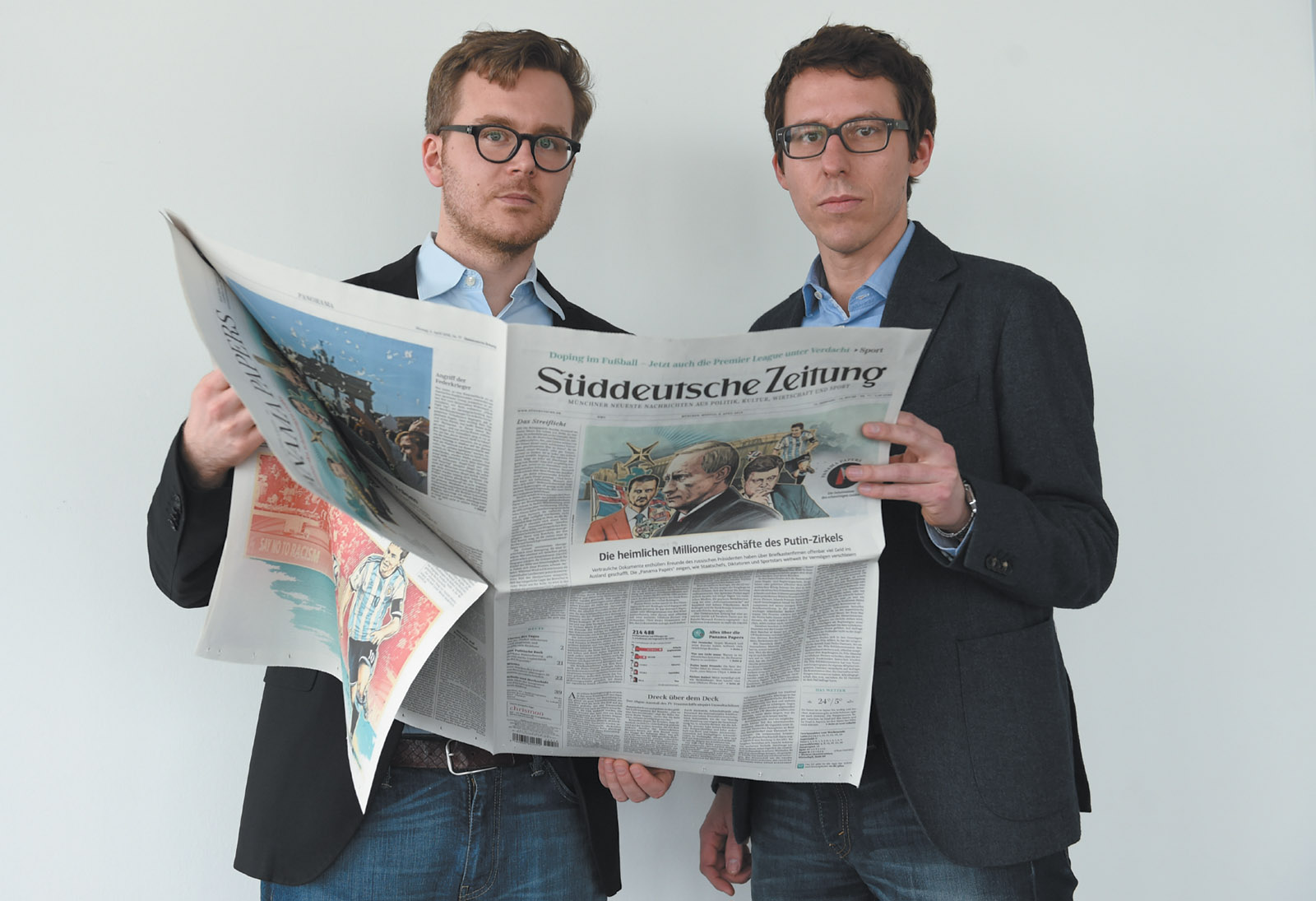 Frederik Obermaier and Bastian Obermayer, the Süddeutsche Zeitung journalists who have led the investigation of the Panama Papers, Munich, April 2016