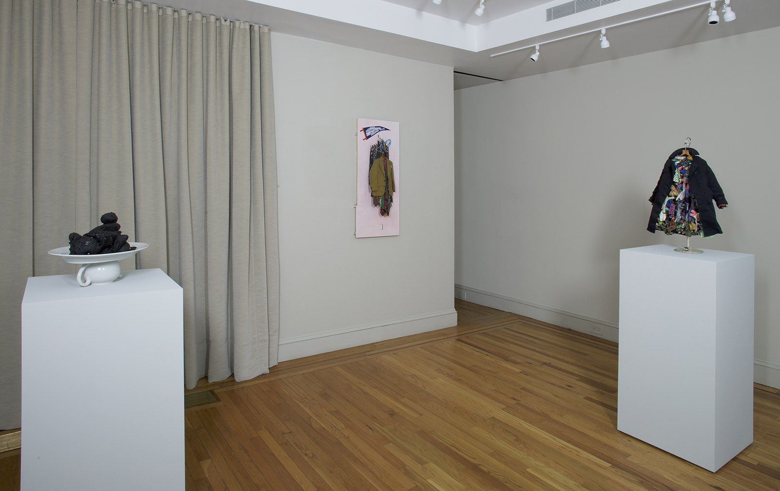 Charles LeDray: Tar Bears (1991), Freedom Train (2013–2015), and Overcoat (2004), on view at the Craig Starr Gallery