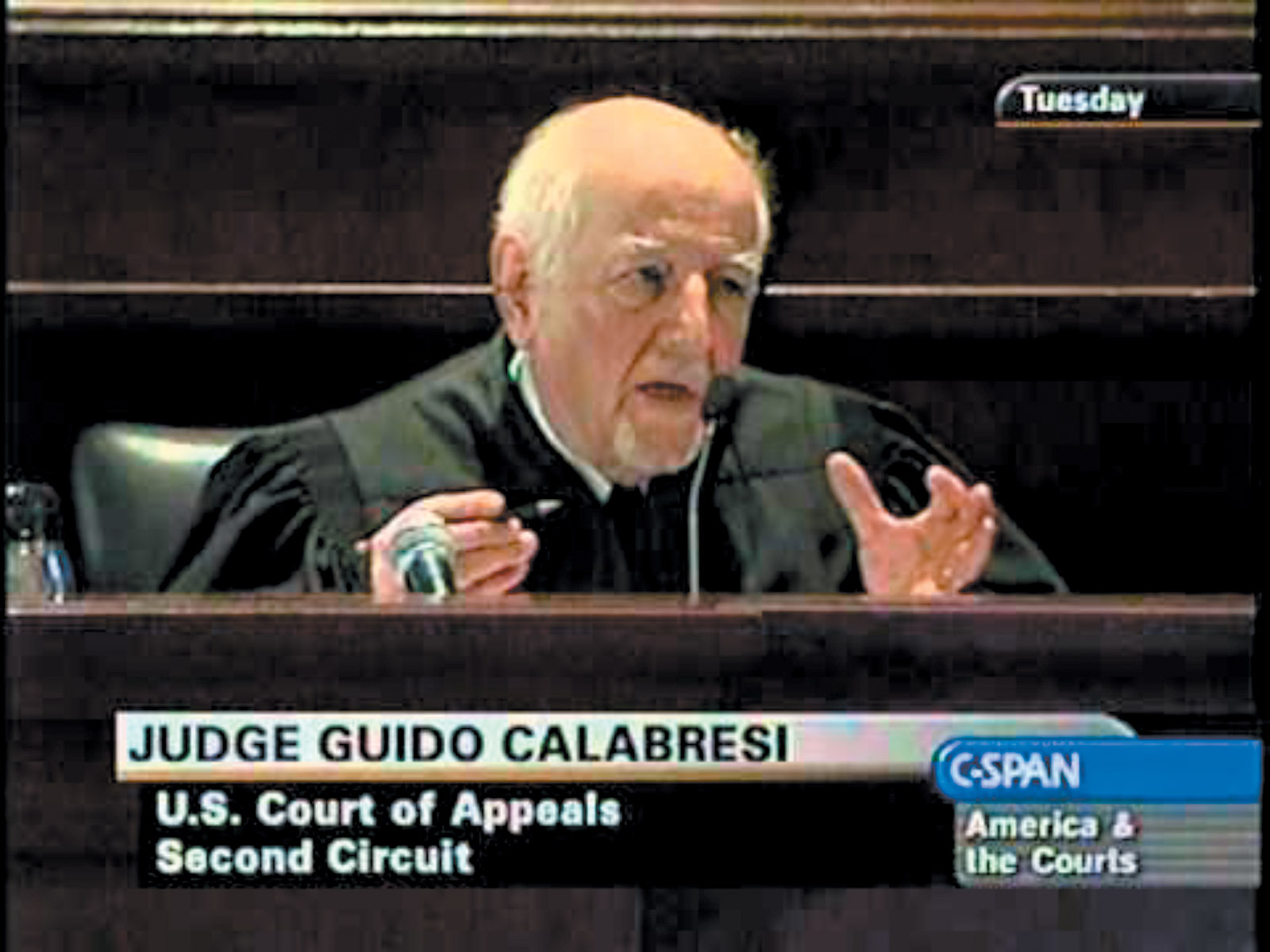 Judge Guido Calabresi during arguments in Arar v. Ashcroft, New York City, December 2008. The court ruled that Maher Arar—a Canadian citizen who was wrongly deported by the US to Syria, where he was held for a year and subjected to torture—had no right to sue US government officials. In his dissent, Calabresi argued that 'when the history of this distinguished court is written, today's majority opinion will be viewed with dismay.'