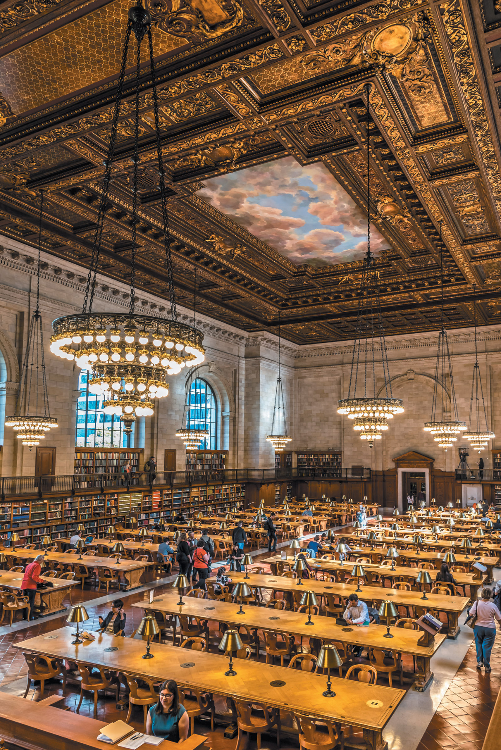 The New York Public Library's Rose Main Reading Room, which just reopened after a two-year restoration, October 2016