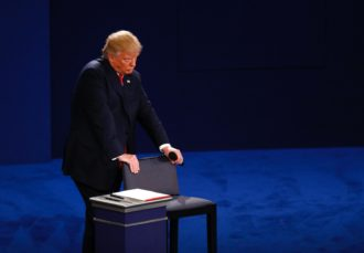 Donald Trump during the second presidential debate at Washington University in St. Louis, October 9, 2016
