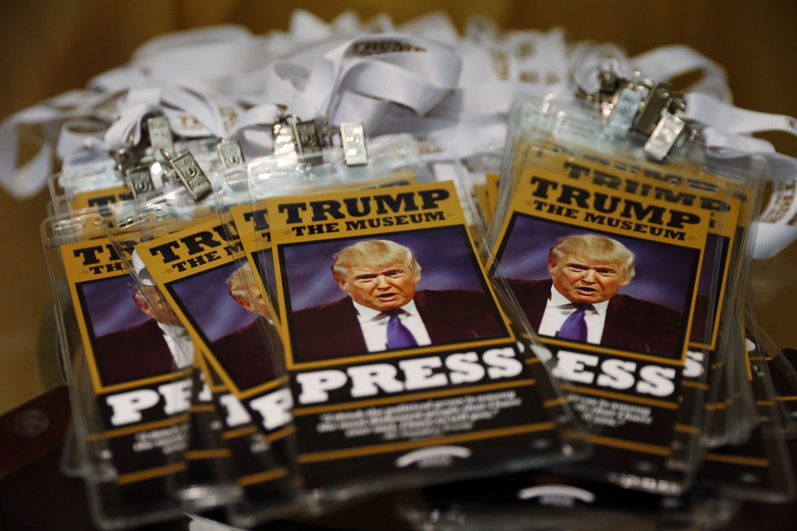 Press passes at an anti-Trump display near the Republican National Convention, Cleveland, Ohio, July 19, 2016