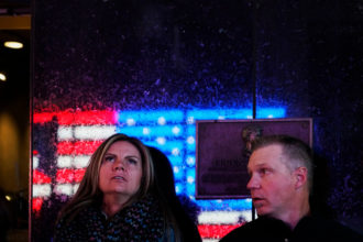 People watching the returns coming in on election night, Times Square, New York City, November 9, 2016