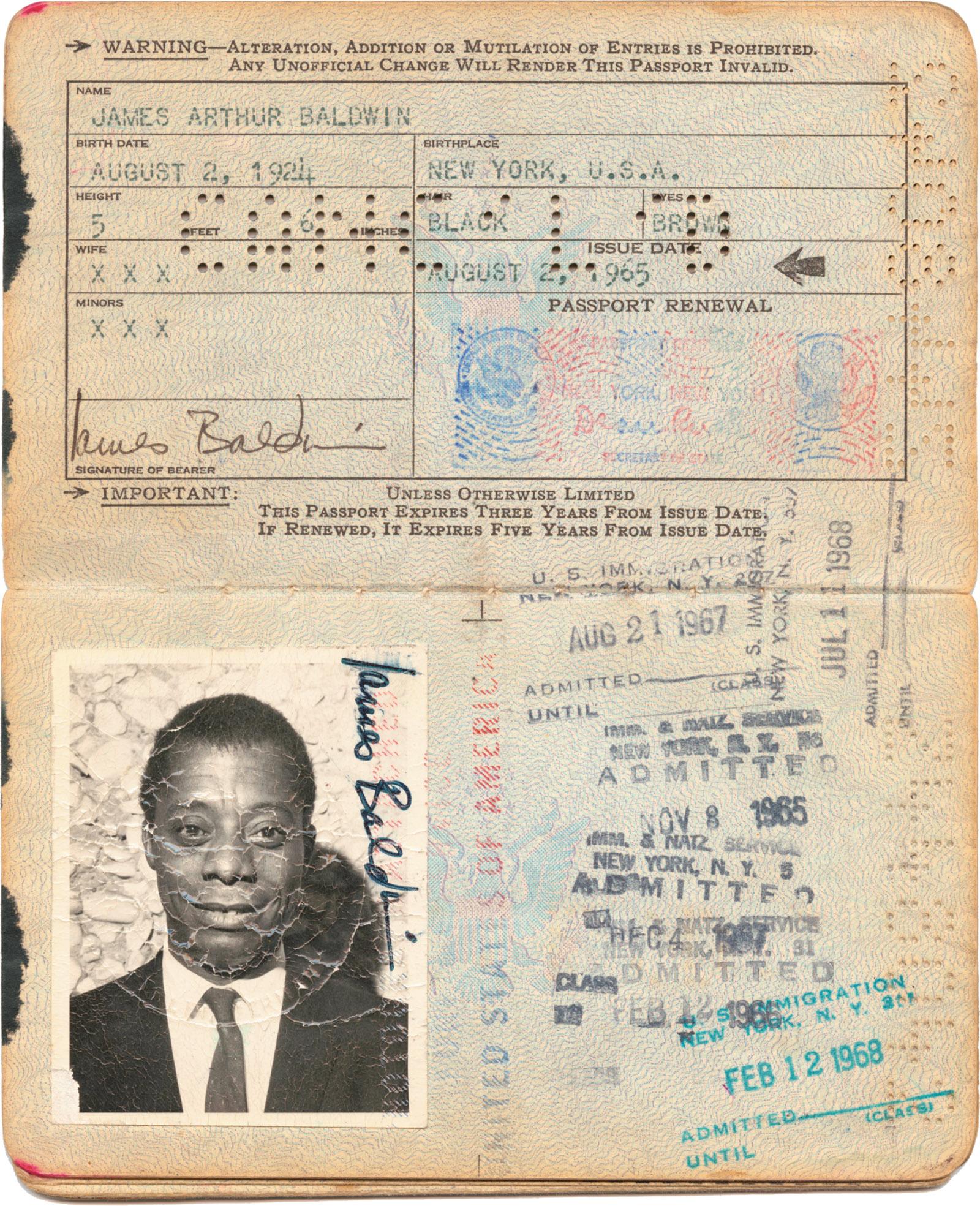 James Baldwin's passport, issued in 1965