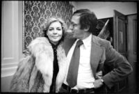 Lauren Bacall and Robert Gottlieb celebrating the publication of Bacall's memoir, By Myself, which Gottlieb edited, New York City, January 1979