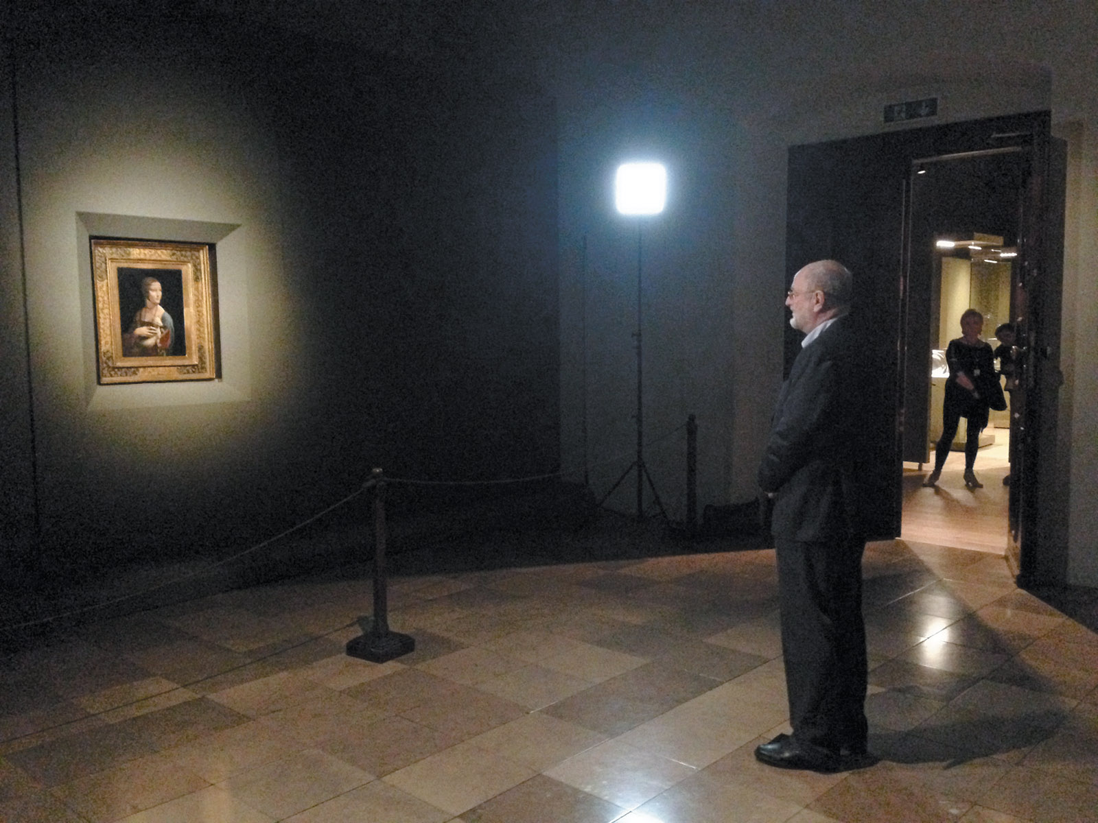 Niklas Frank—son of Hans Frank, Adolf Hitler's personal lawyer—looking at Leonardo da Vinci's Lady with an Ermine for the first time since he was a small child, Wawel Castle, Kraków, January 2014. According to Philippe Sands in East West Street, the elder Frank confiscated the painting from a Polish museum for 'protective' reasons while he was governor-general of Nazi-occupied Poland, and kept it in his private rooms at the castle.