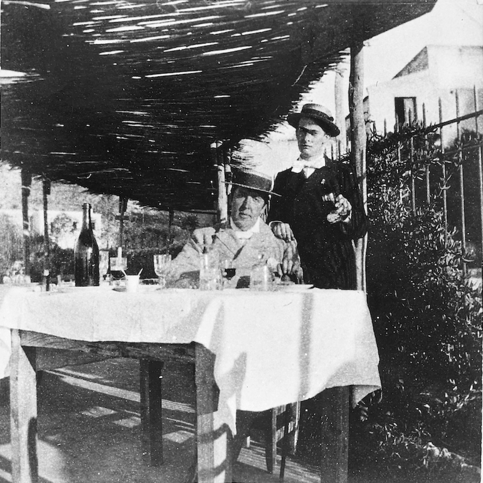 Oscar Wilde having lunch with Lord Alfred Douglas near Dieppe in 1898, after his release from Reading Gaol