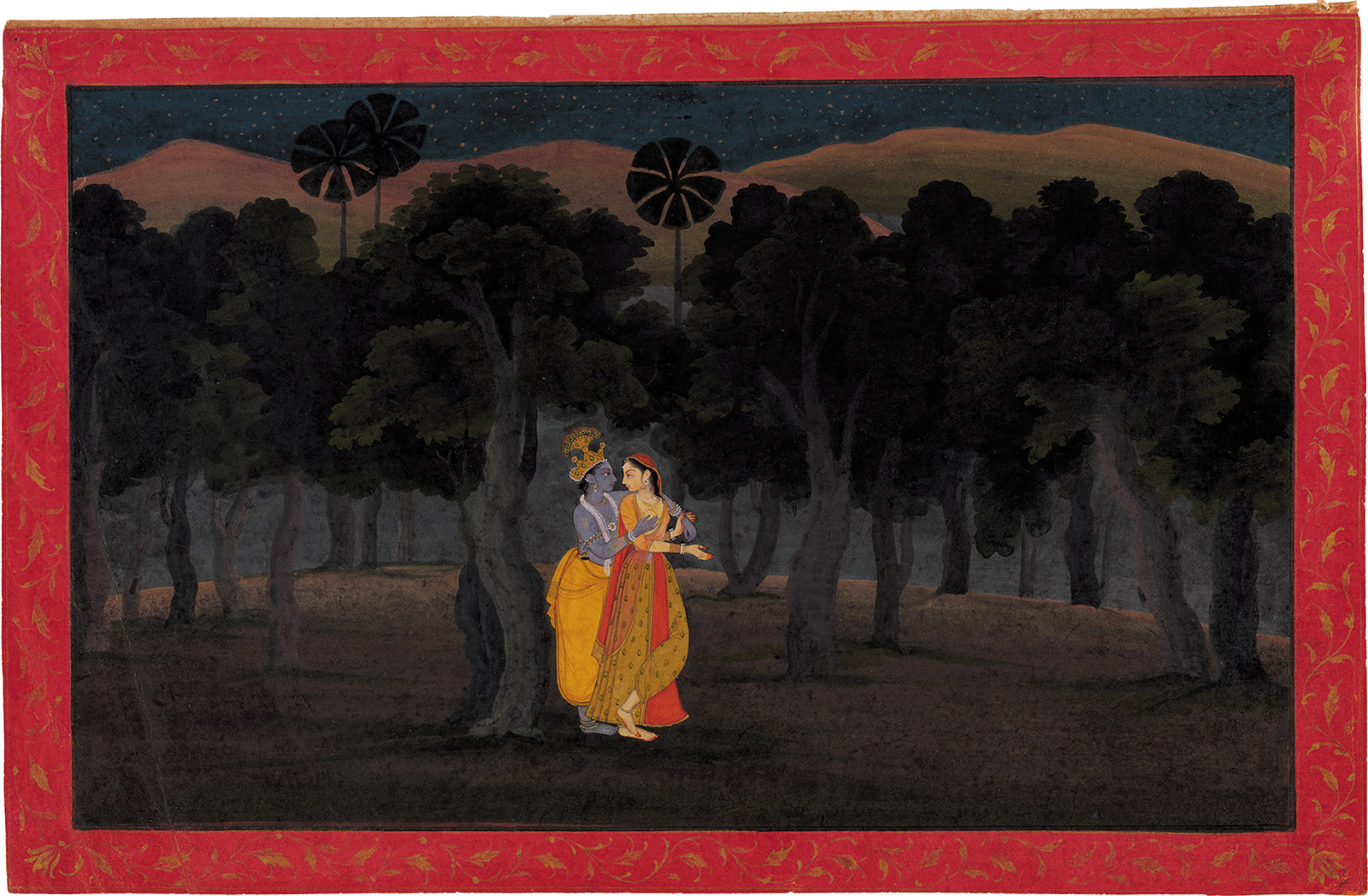 'The Lovers Radha and Krishna in a Palm Grove'; miniature painting from the 'Tehri Garhwal' Gita ­Govinda (Song of the Cowherds), Punjab Hills, kingdom of Kangra or Guler, circa 1775–1780