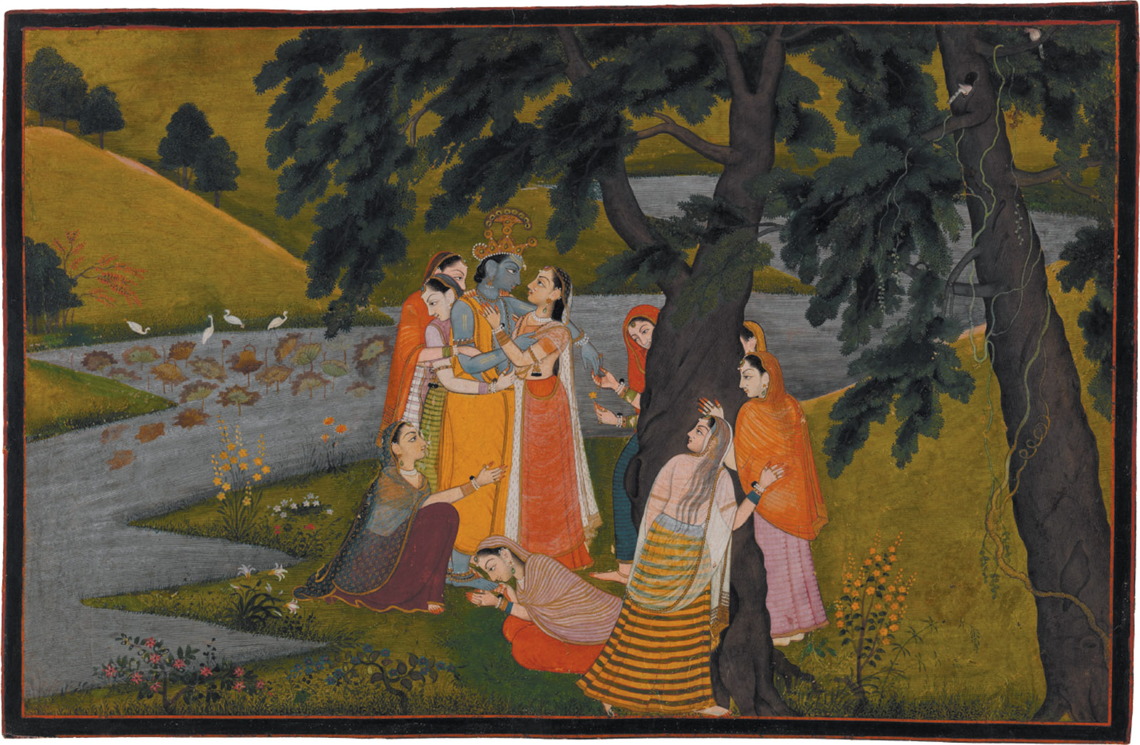 'Krishna and the Gopis on the Bank of the Yamuna River'; miniature painting from the 'Tehri Garwhal' Gita Govinda, circa 1775–1780