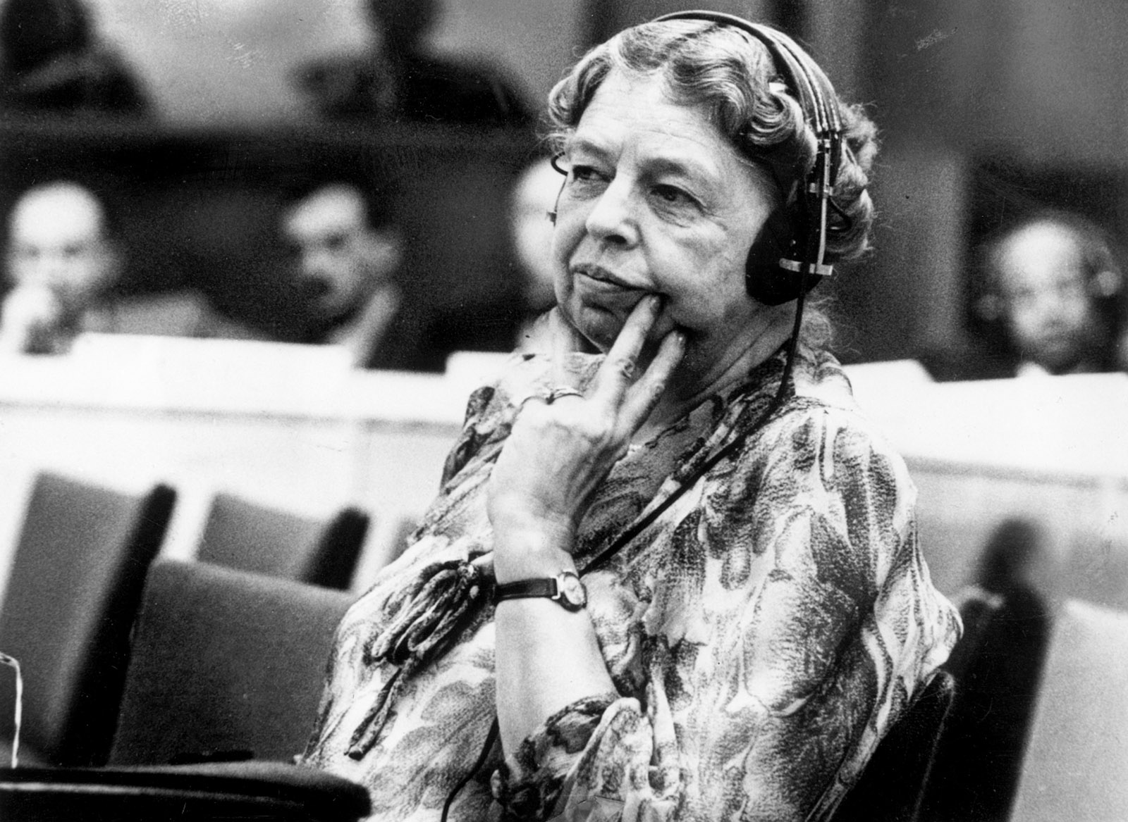 Eleanor Roosevelt at the temporary headquarters of the United Nations, Lake Success, New York, 1946