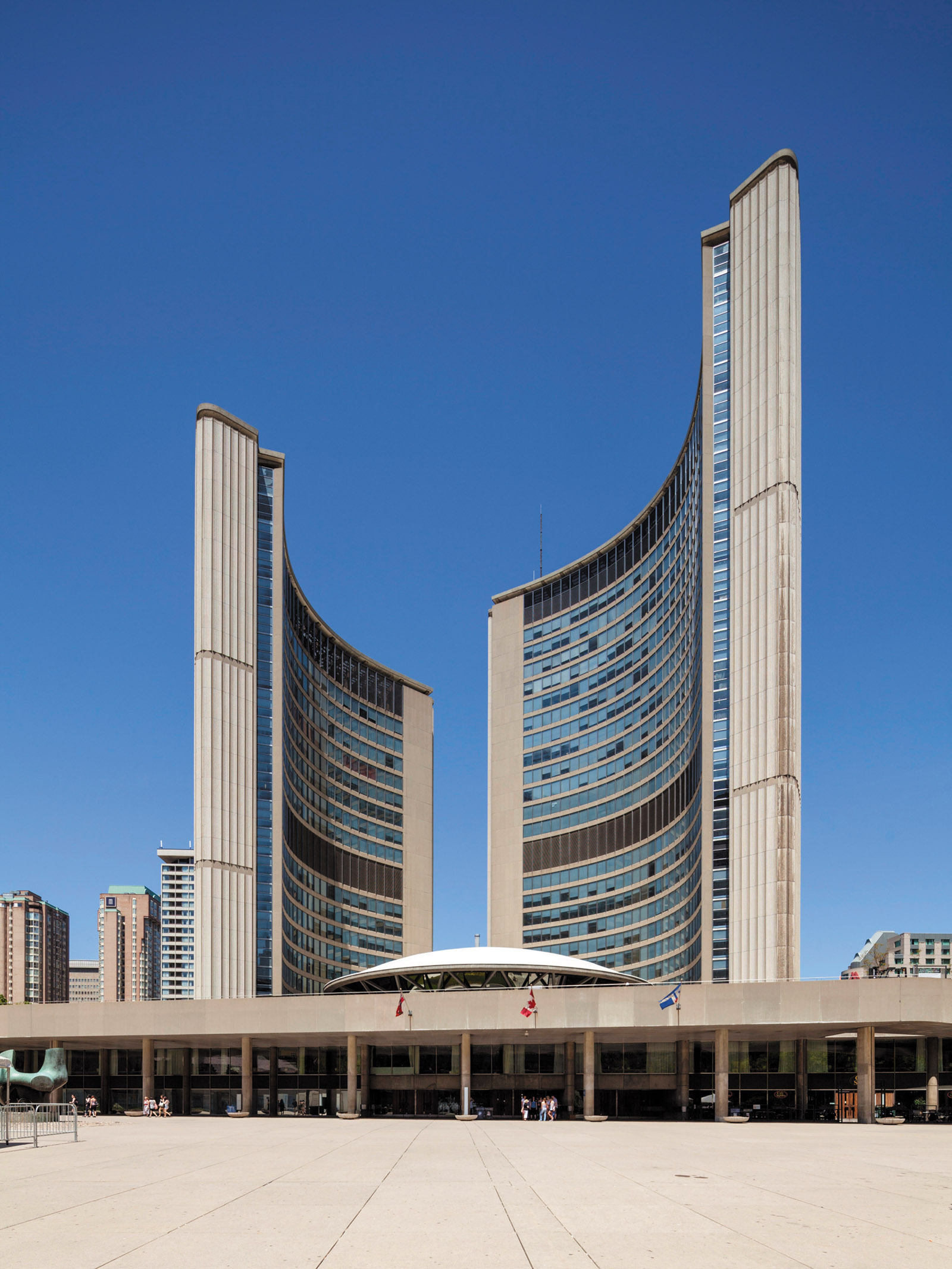 Toronto City Hall and Nathan Phillips Square, designed by Viljo Revell, 1958–1965; from Christopher Beanland's Concrete Concept: Brutalist Buildings Around the World