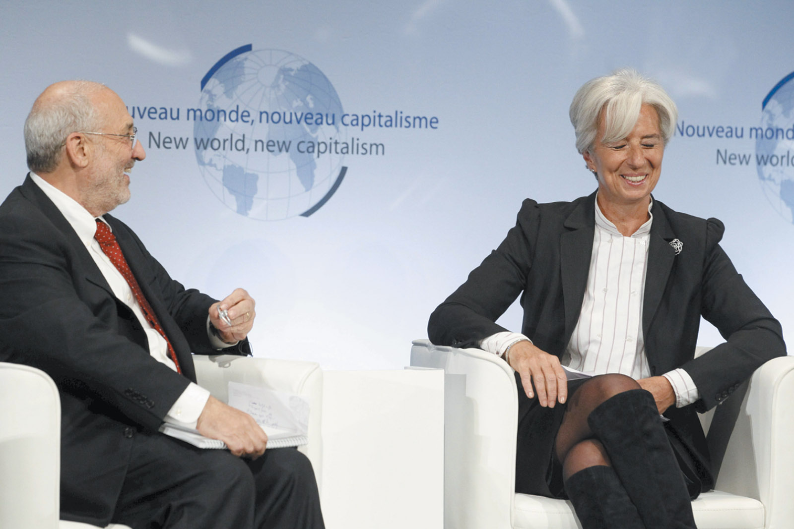 Joseph Stiglitz and then French Finance Minister Christine Lagarde, Paris, January 2011