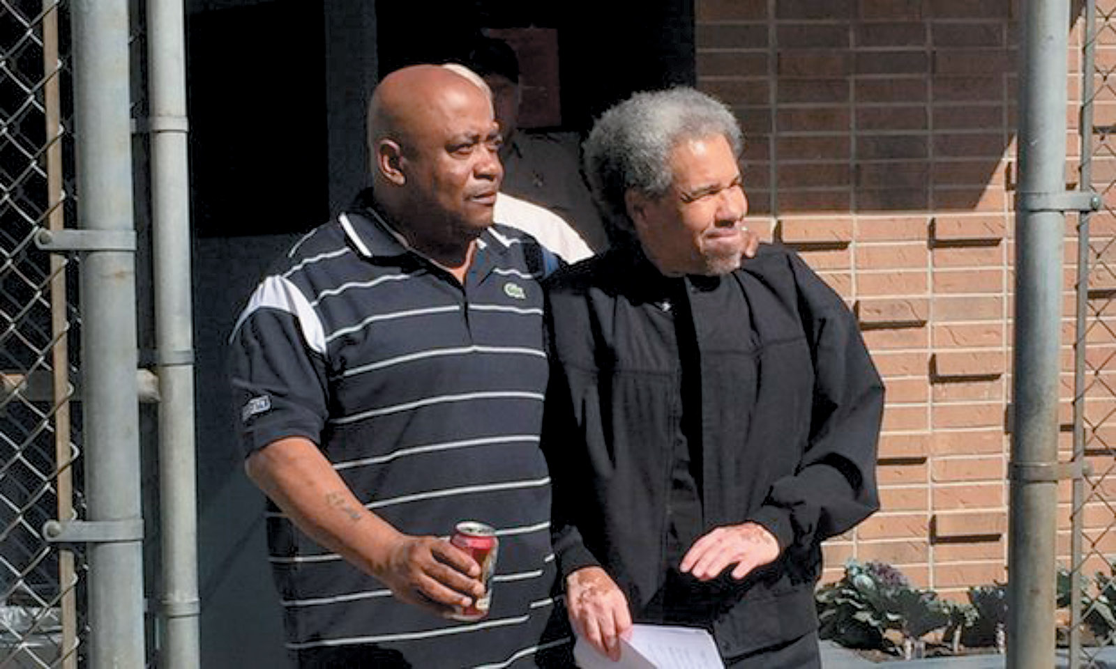 Albert Woodfox (right), accompanied by his brother Michel Mable, leaving West Feliciana Parish Detention Center in Louisiana after forty-three years in solitary confinement, February 2016