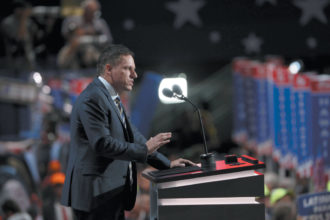 Peter Thiel speaking at the Republican National Convention, Cleveland, July 2016. Thiel, the first outside investor in Facebook and a cofounder of PayPal, is a founder of Palantir, a Silicon Valley firm funded by the CIA, whose algorithms allow for rapid analysis of voluminous data that it makes available to intelligence agencies and numerous police forces as well as to corporations and financial institutions.