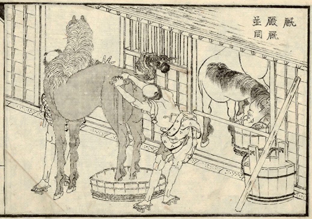 hokusai-horse-washing