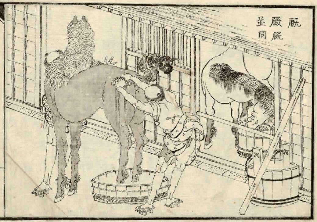 hokusai-horse-washing