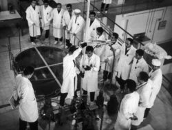 Scientists inspecting Iraq's first nuclear reactor in Baghdad, supplied by the Soviets, February 1968