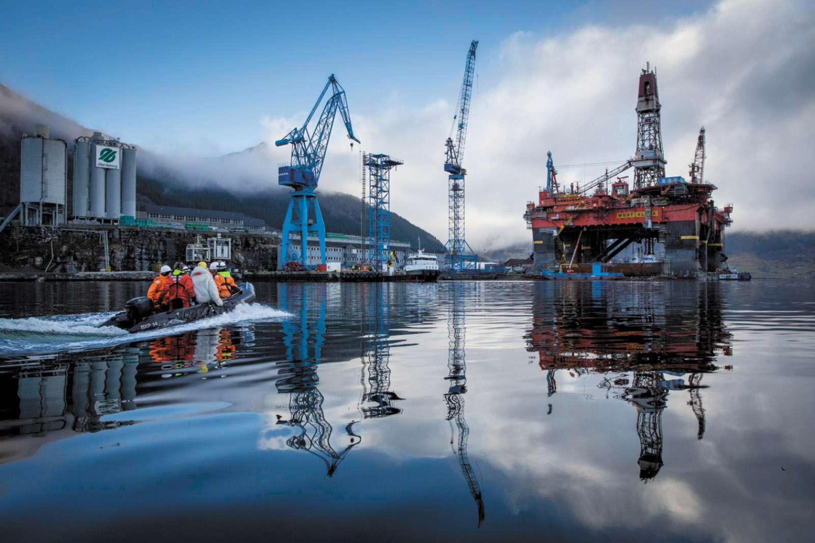Greenpeace activists preparing to board an ExxonMobil oil rig in Norwegian waters to protest its plans to drill for oil in the Russian Arctic, March 2014