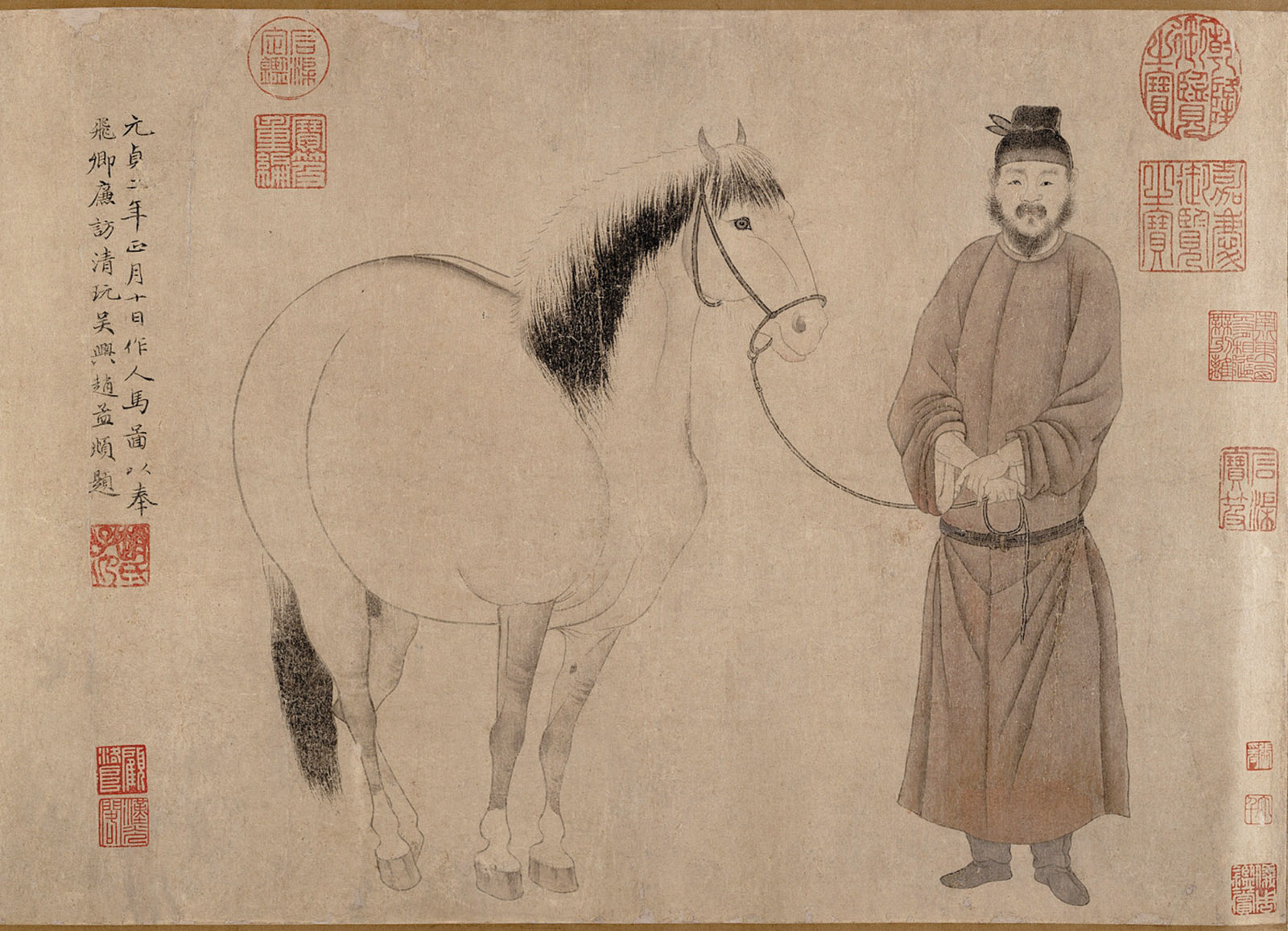 'Man and Horse'; handscroll by Zhao Mengfu, Yuan dynasty, 1296