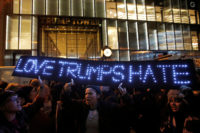 People protesting outside Trump Tower following Donald Trump's election victory, New York City, November 9, 2016
