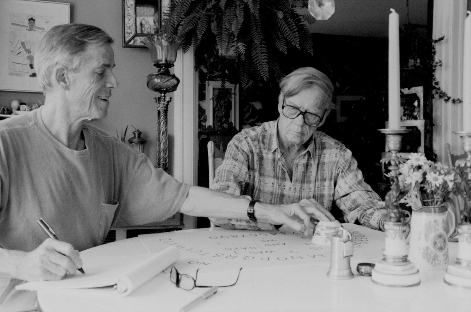 James Merrill and David Jackson at the Ouija board, Stonington, Connecticut, 1983