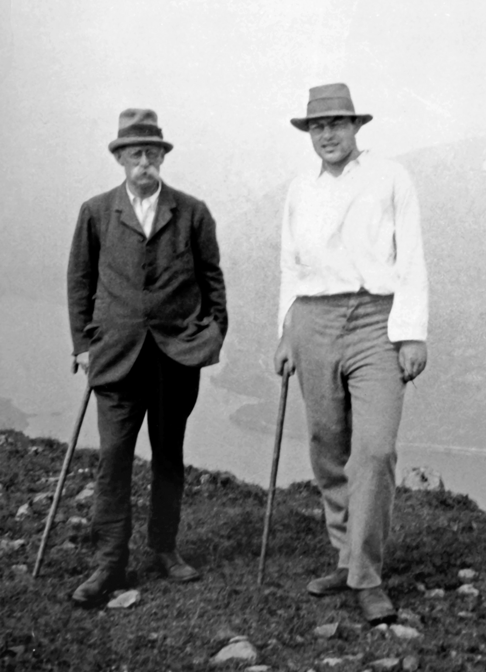 Frank Ramsey (right), with his mathematician father, Arthur Ramsey, Lake District, England, 1925