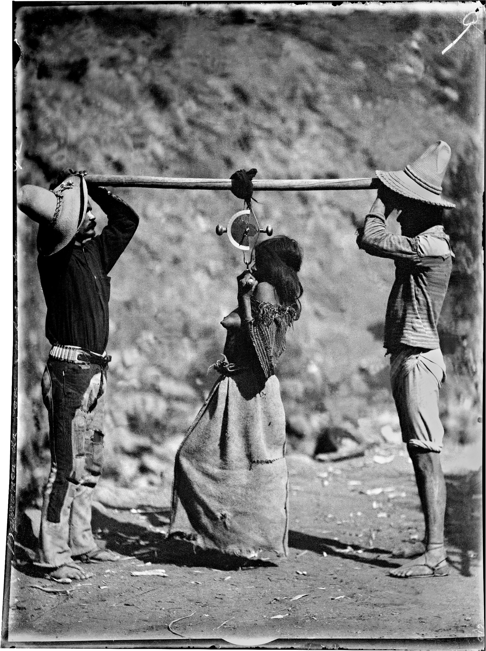 Carl Lumholtz: Tarahumara Woman Being Weighed, Barranca de San Carlos (Sinforosa), Chihuahua, 1892; from Among Unknown Tribes: Rediscovering the Photographs of Explorer Carl Lumholtz. The book includes essays by Bill Broyles, Ann Christine Eek, and others, and is published by the University of Texas Press.