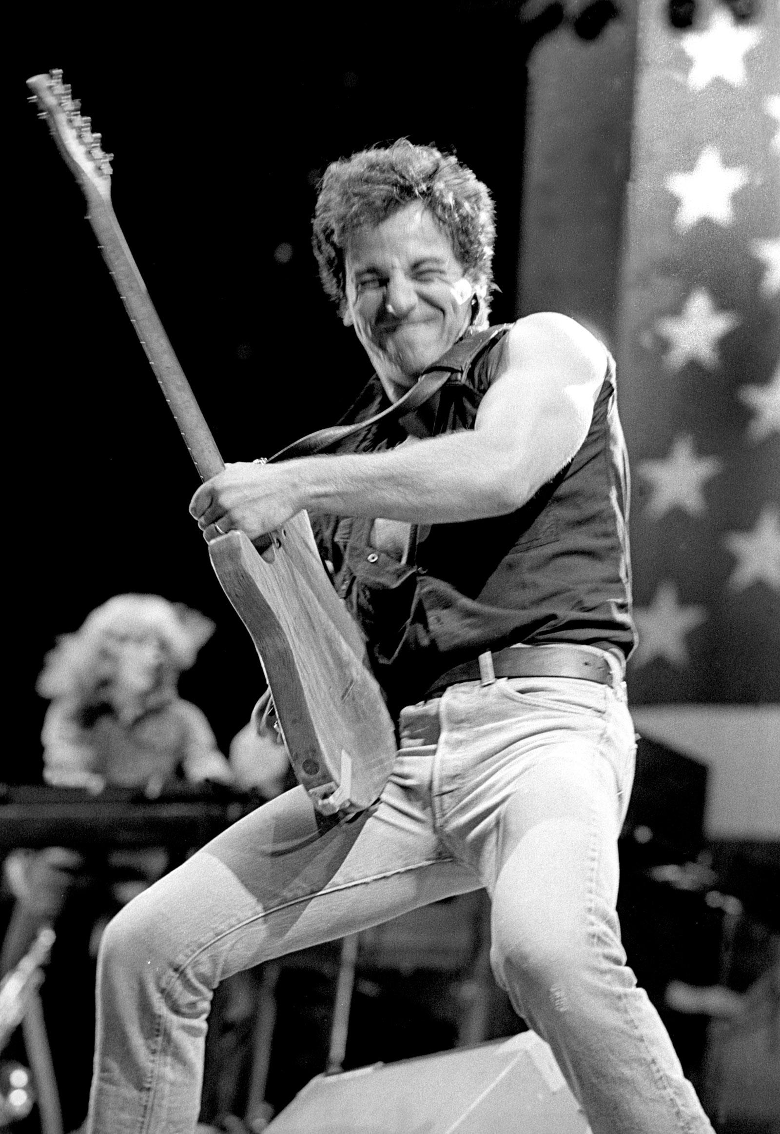 Bruce Springsteen performing at the Oakland Coliseum, California, September 1985