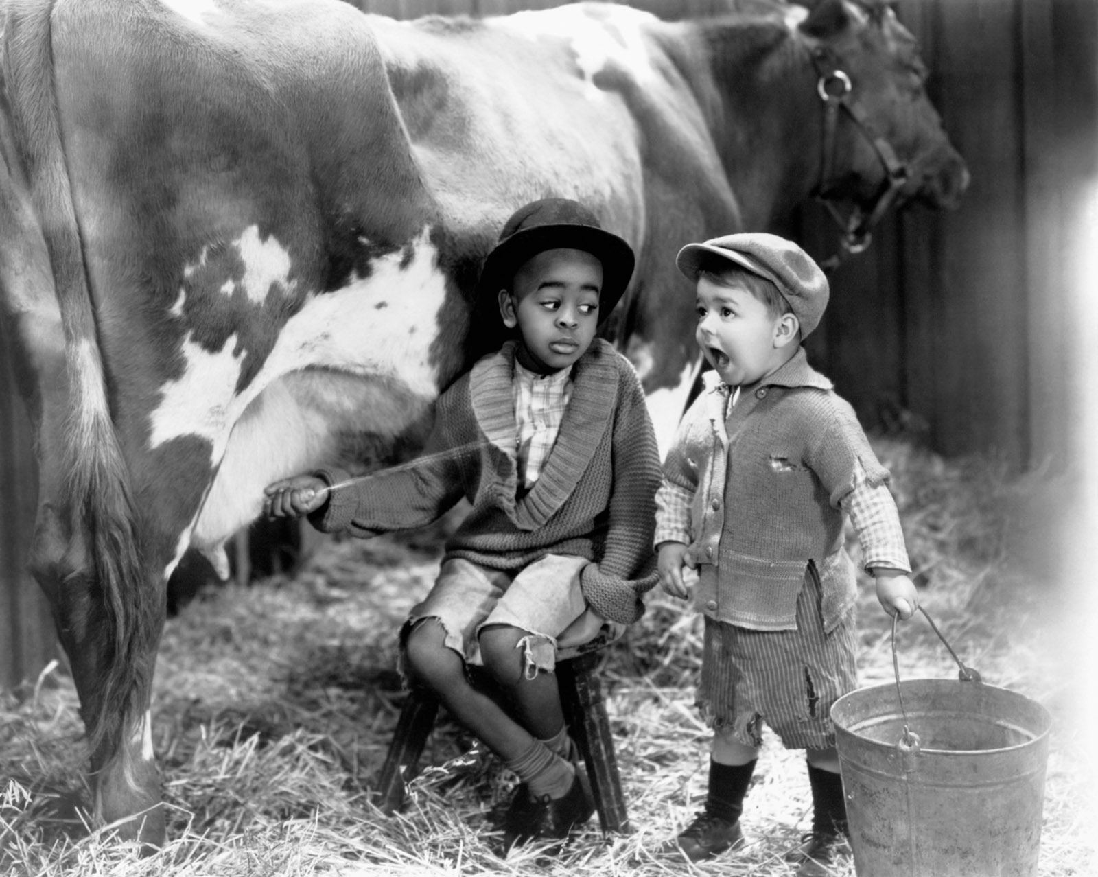 Matthew 'Stymie' Beard and George 'Spanky' McFarland in Mush and Milk, from the Our Gang/Little Rascals series, 1933