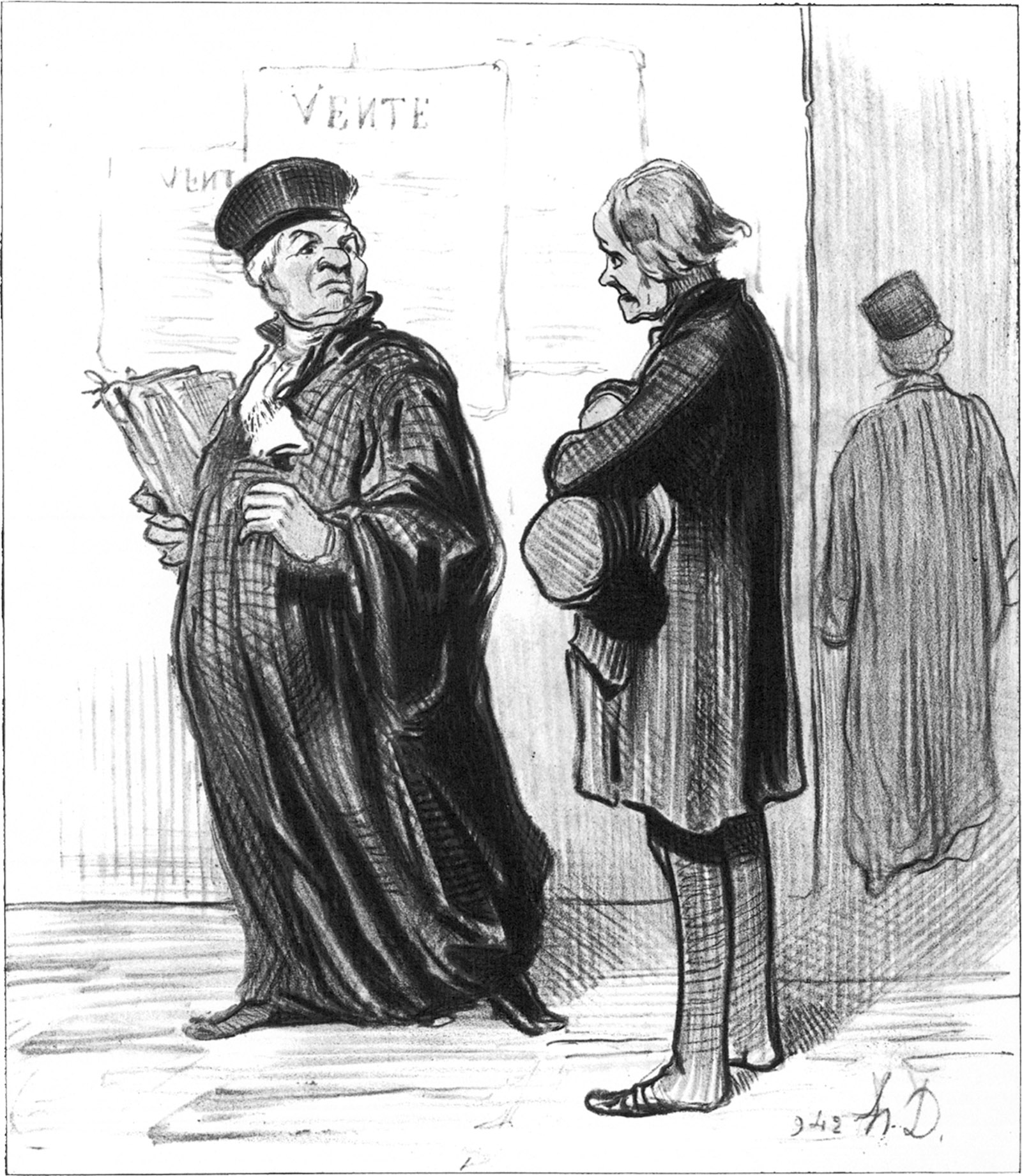 'My dear Sir, it is quite impossible for me to take on your case. You lack the most important piece of evidence...that you can pay my fee!'; lithograph by Honoré Daumier, 1846