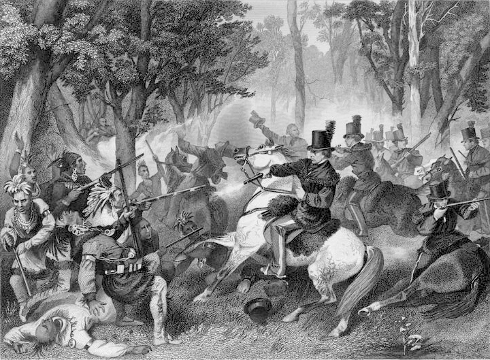 'Battle of the Thames—Death of Tecumseh'; engraving by William Wellstood after a painting by Alonzo Chappel, 1882