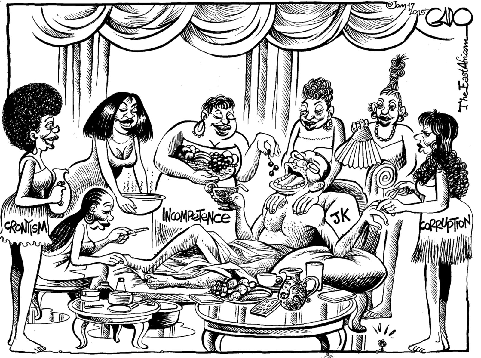 Tanzanian President Jakaya Kikwete surrounded by Cronyism, Incompetence, and Corruption; drawing by the well-known cartoonist Gado. Its publication in the East African in January 2015 led to the temporary banning of the newspaper from Tanzania and eventually to Gado's dismissal from its sister newspaper, the Nation, published in Nairobi, Kenya, where he had worked since 1992.