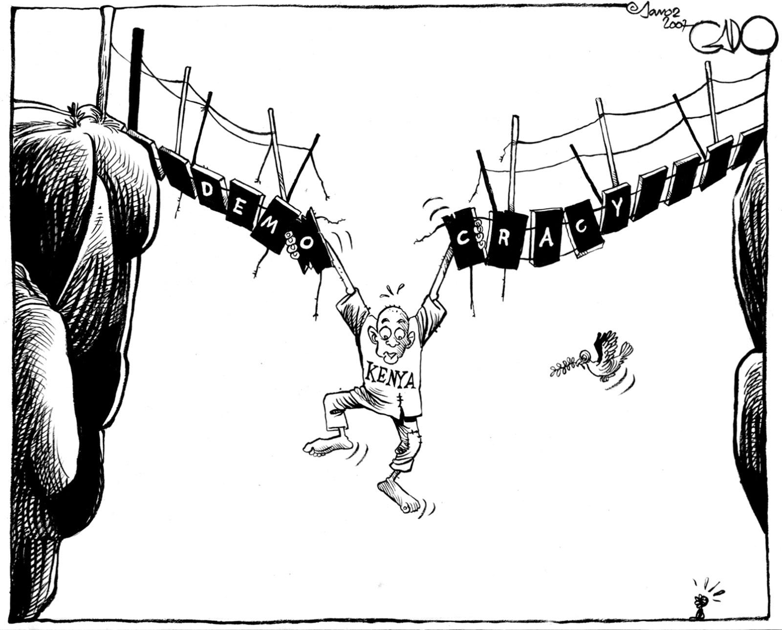 'Kenya's Democracy'; drawing by Gado, January 2007