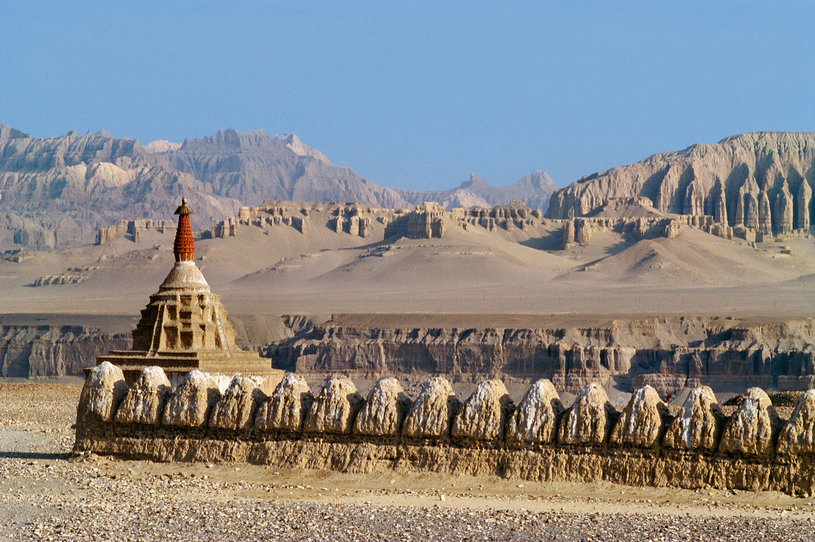 A row of Guge stupas near Tholing, in the tenth-century Kashmir-informed style, 2009