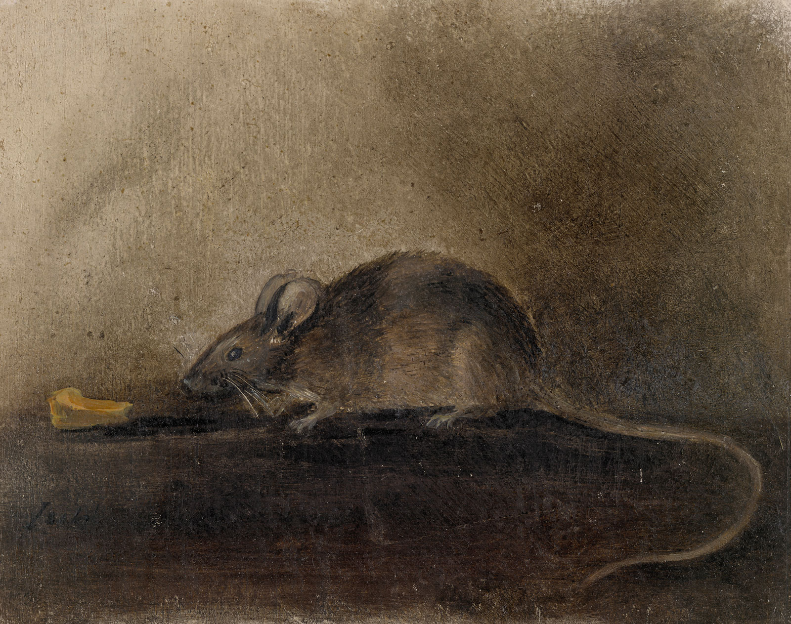 """John Constable's drawing of a mouse with a piece of cheese, inscribed """"Jack,"""" 1824"""