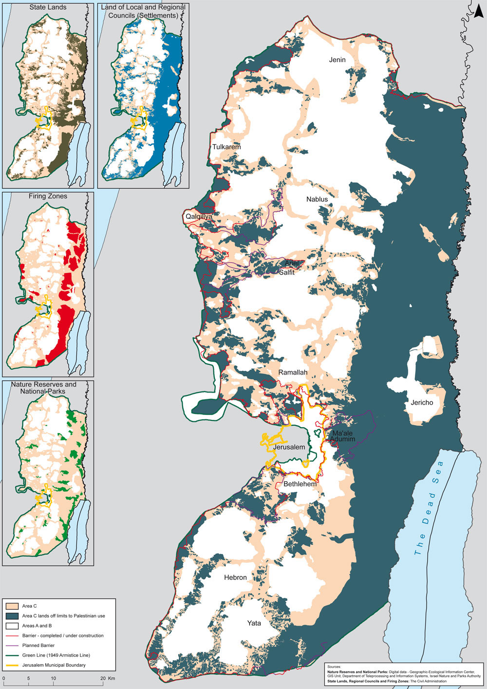 Map of the West Bank; Area C, in dark green, is controlled by Israel and makes up 60 percent of the land. Click to enlarge