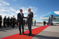 President Barack Obama with then Swedish Foreign Minister Carl Bildt at Stockholm Arlanda Airport, September 2013. At a joint press conference with then Swedish Prime Minister Fredrik Reinfeldt the same day, Obama discussed surveillance by the NSA.