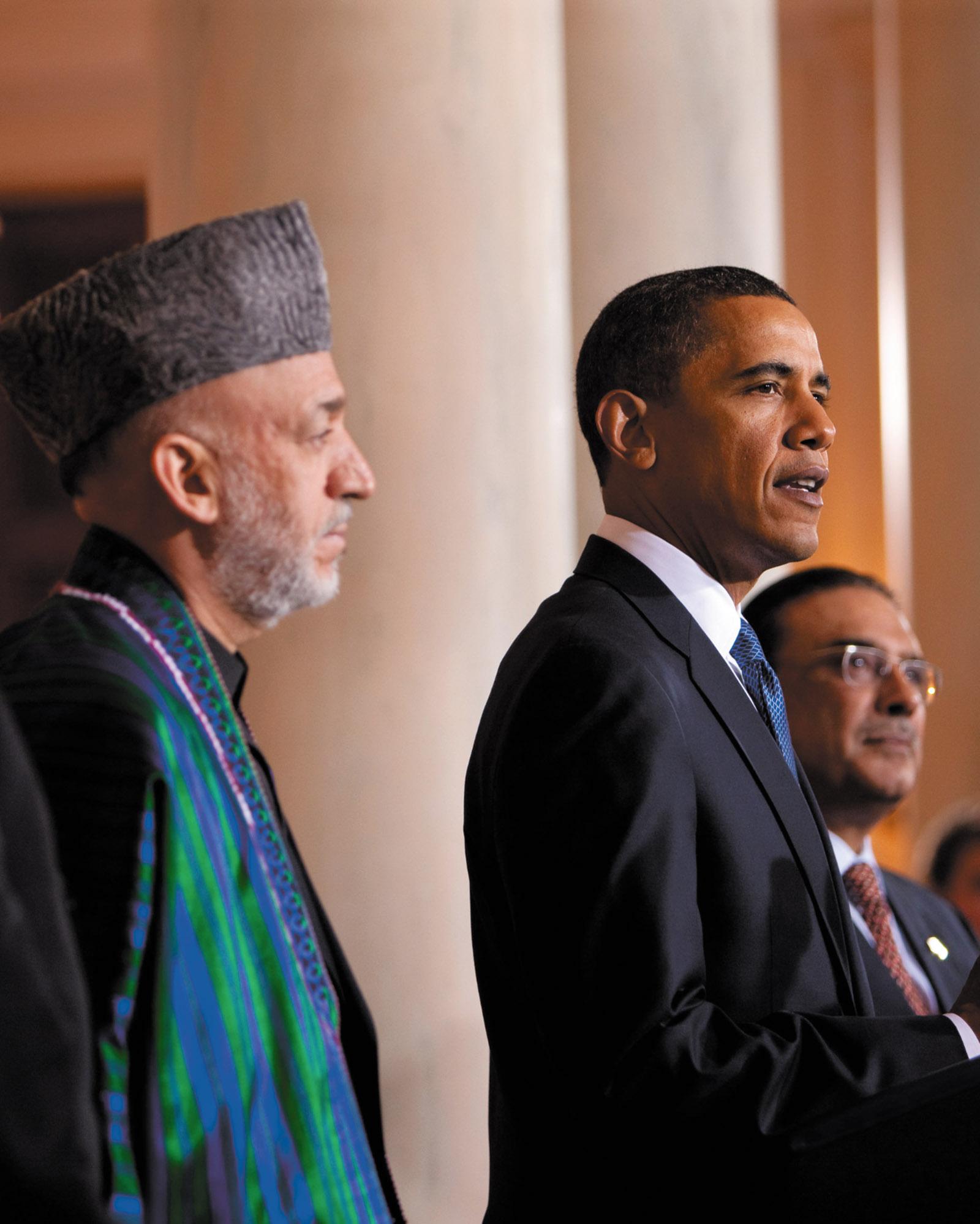 Hamid Karzai and Barack Obama at the White House, May 2009