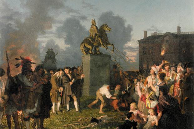 Johannes Adam Oertel: <i>Pulling Down the Statue of King George III</i>, 1848