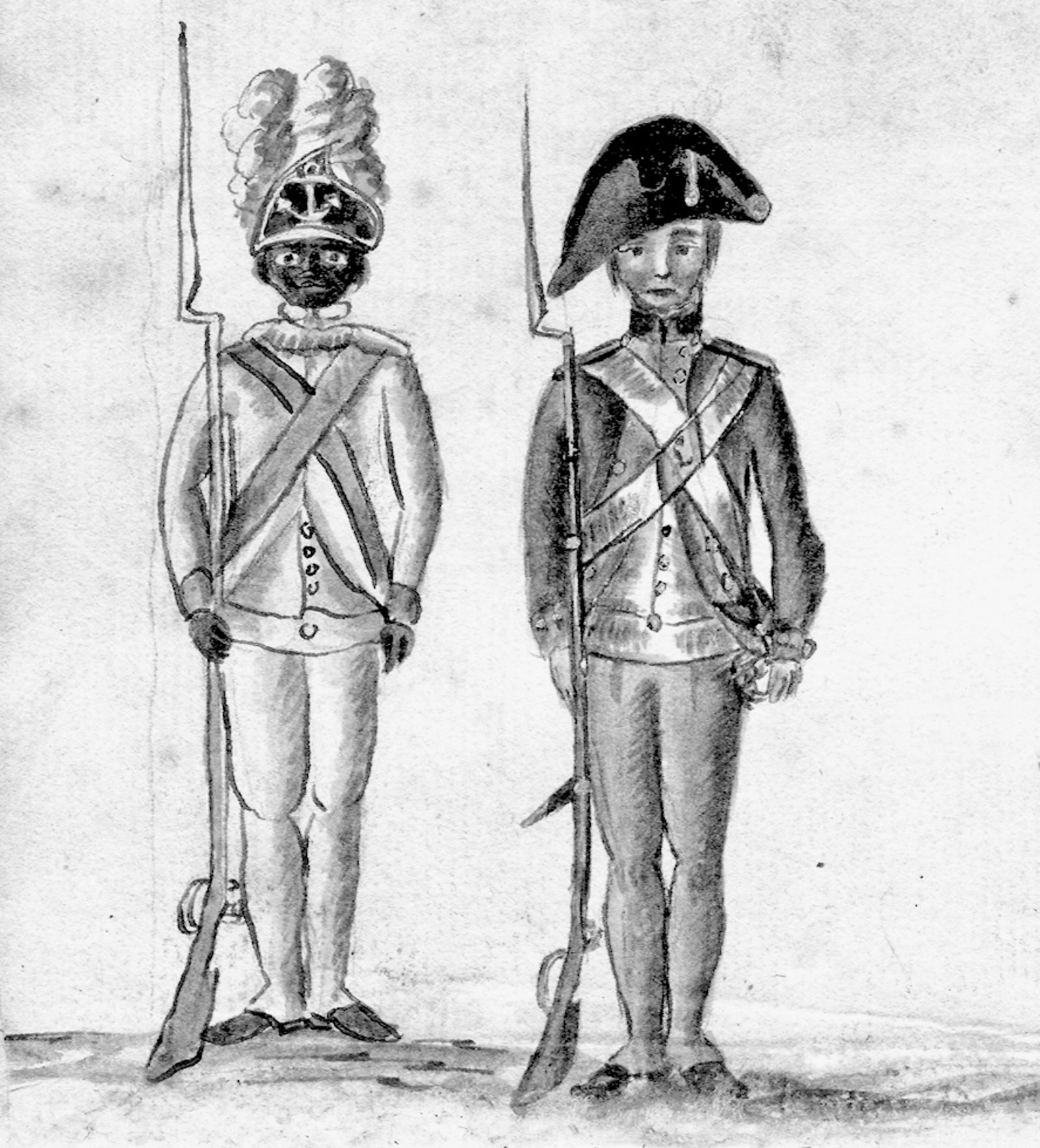 At left, a black soldier in the Yorktown campaign; detail of a sketch by Jean Baptiste Antoine de Verger, circa 1781