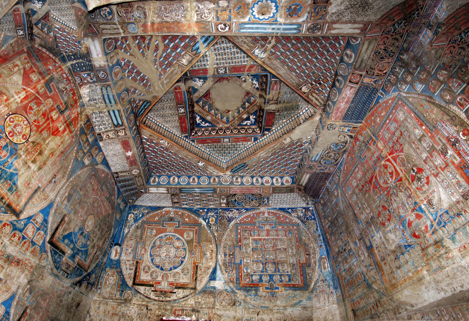 Temple room in Dungkar Cave 1, one of four caves that were residences of the Guge dynasty beginning in the twelfth century